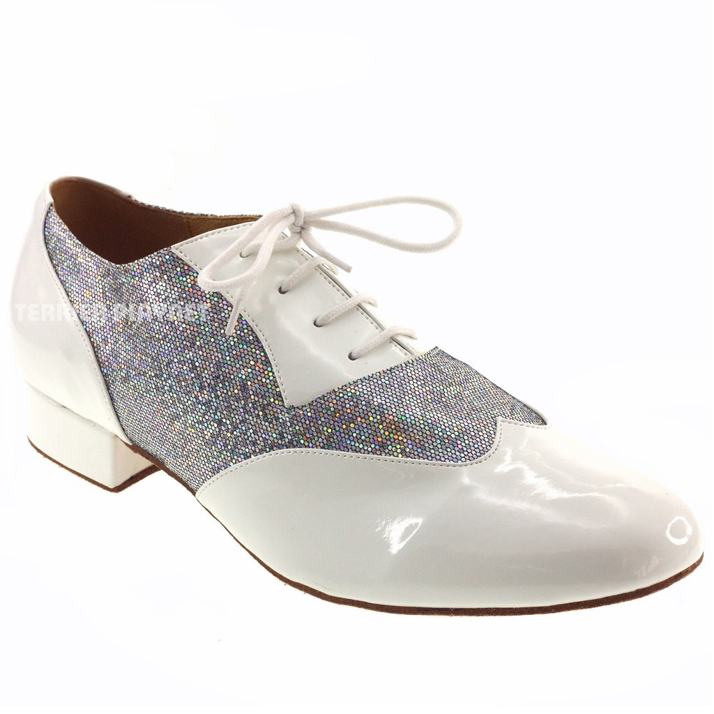 White & Silver Men Dance Shoes M70 - Terrier Playnet Shop
