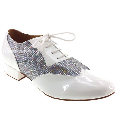 White & Silver Men Dance Shoes M70 UK9/US9.5/EU43 1 Inches/2.5cm Heel