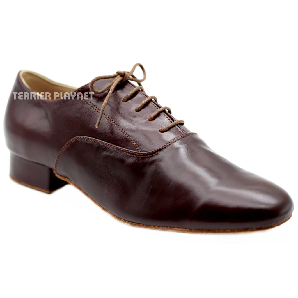 High Quality Dark Brown Leather Men Dance Shoes M73 UK9.5/US10/EU44 1 Inches/2.5cm Heel