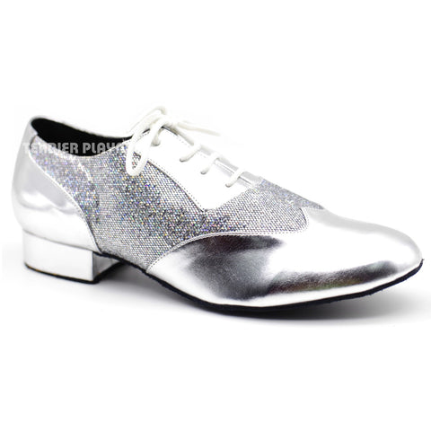 Silver Men Dance Shoes M74 UK9/US9.5/EU43 1 Inches/2.5cm Heel