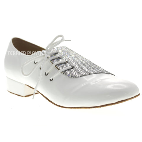 White & Silver Men Dance Shoes M75 UK10.5/US11/EU45 1 Inches/2.5cm Heel