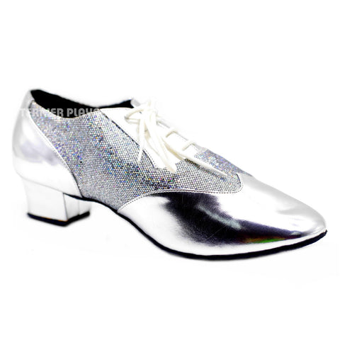 Silver Men Dance Shoes M81 UK9/US9.5/EU43 1.5 Inches/3.75cm Heel
