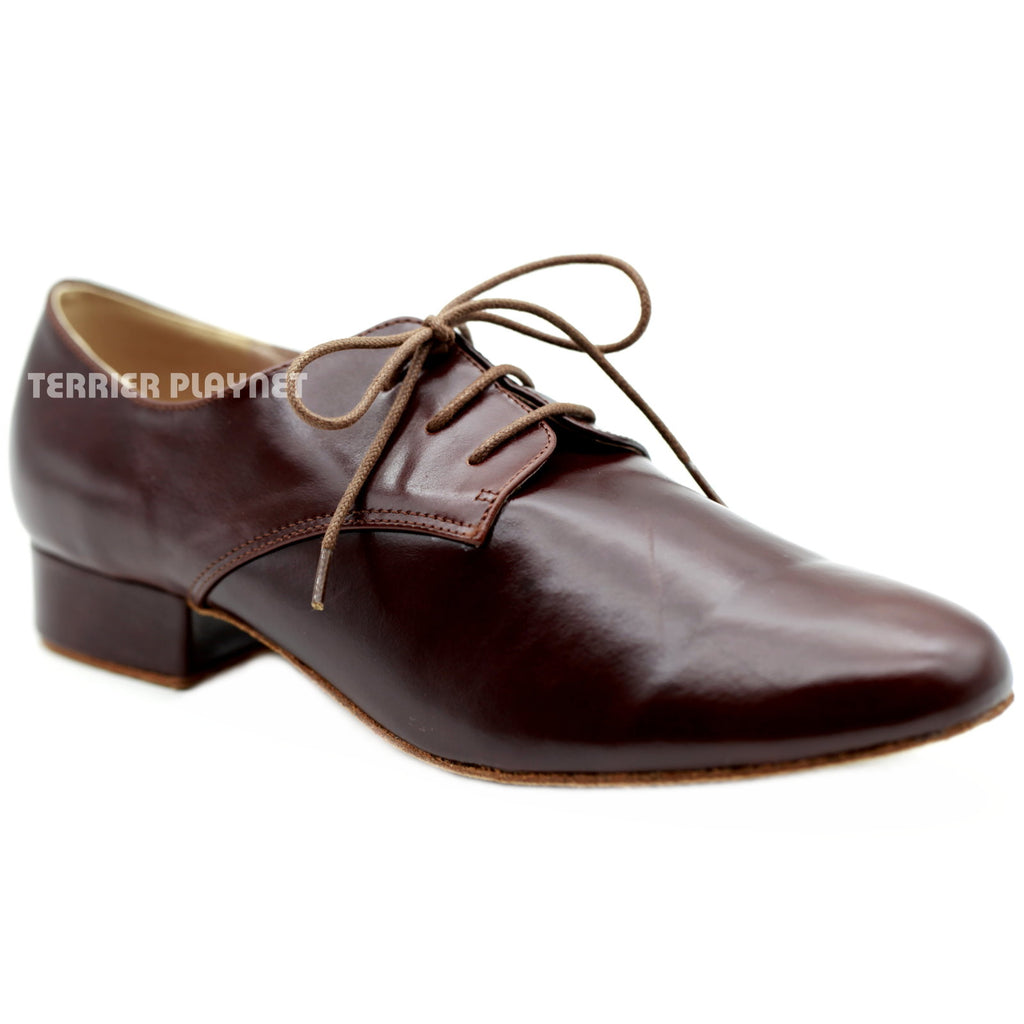High Quality Dark Brown Leather Men Dance Shoes M82 UK9/US9.5/EU43 1 Inches/2.5cm Heel