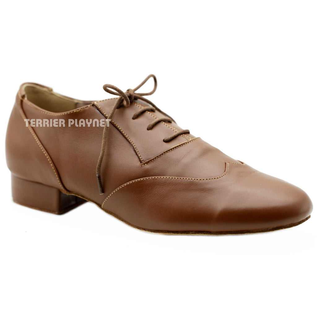 High Quality Brown Leather Men Dance Shoes M85 UK8.5/US9/EU42.5 1 Inches/2.5cm Heel