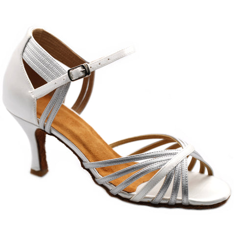 White & Silver Women Dance Shoes D1183