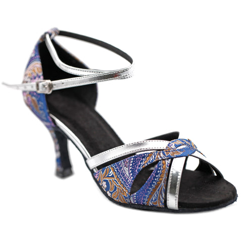 Blue & Silver Embroidered Women Dance Shoes D1194 UK6/US8.5/EU39.5 3 Inches / 7.5cm