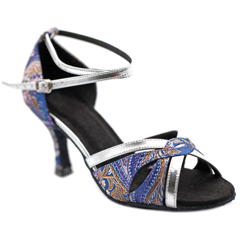 Blue & Silver Embroidered Women Dance Shoes D1194