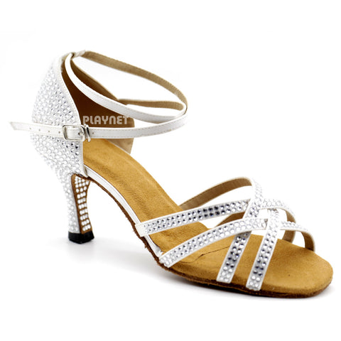White Women Rhinestone Dance Shoes Q100