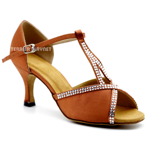 Dark Tan Women Rhinestone Dance Shoes Q102 UK5/US7.5/EU38 3 Inches/7.5cm Heel