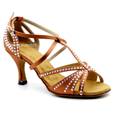 Dark Tan Women Rhinestone Dance Shoes Q103 UK5/US7.5/EU38 3 Inches/7.5cm Heel