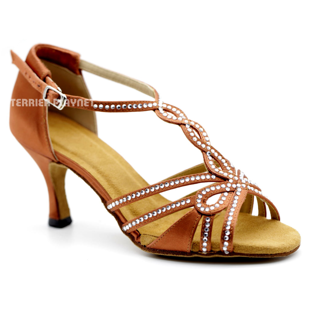 Dark Tan Women Rhinestone Dance Shoes Q104 UK5/US7.5/EU38 3 Inches/7.5cm Heel