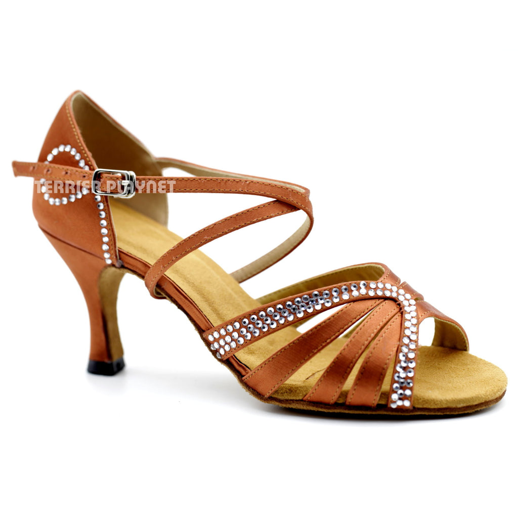Dark Tan Women Rhinestone Dance Shoes Q105 UK5/US7.5/EU38 3 Inches/7.5cm Heel