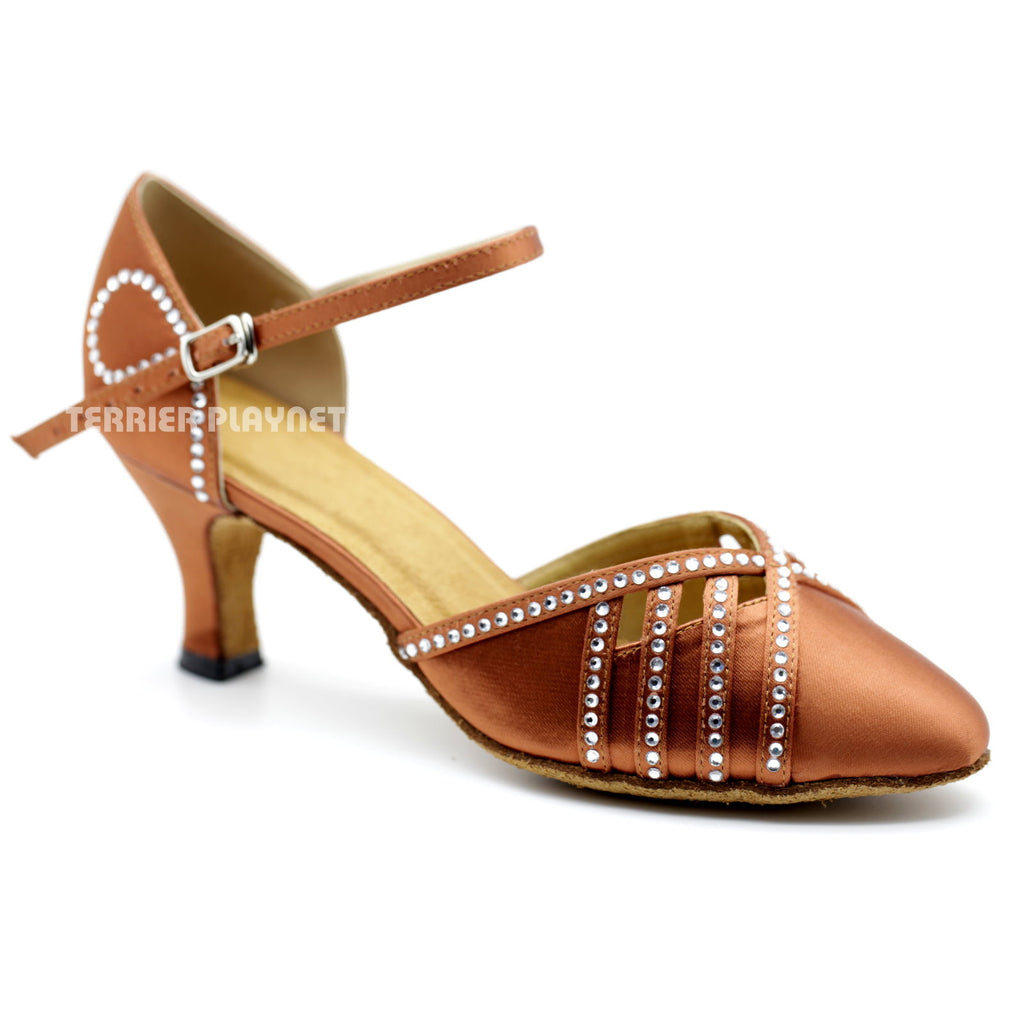Dark Tan Women Rhinestone Dance Shoes Q106 UK5/US7.5/EU38 2.5 Inches/6.25cm Heel - Terrier Playnet Shop