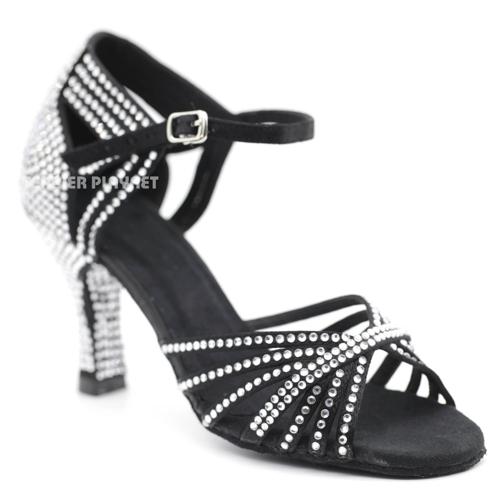 Black Women Rhinestone Dance Shoes Q107 UK5/US7.5/EU38 3 Inches/7.5cm Heel - Terrier Playnet Shop