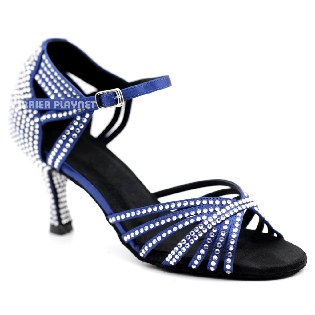Blue Women Rhinestone Dance Shoes Q108