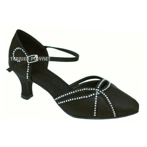 Black Women Rhinestone Dance Shoes Q10