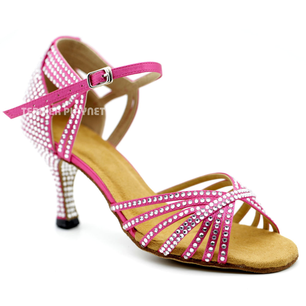 Hot Pink Women Rhinestone Dance Shoes Q111 UK5/US7.5/EU38 3 Inches/7.5cm Heel