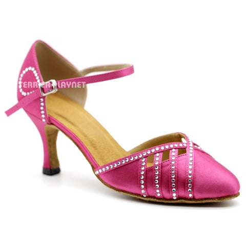 Hot Pink Women Rhinestone Dance Shoes Q115 UK5/US7.5/EU38 3 Inches/7.5cm Heel