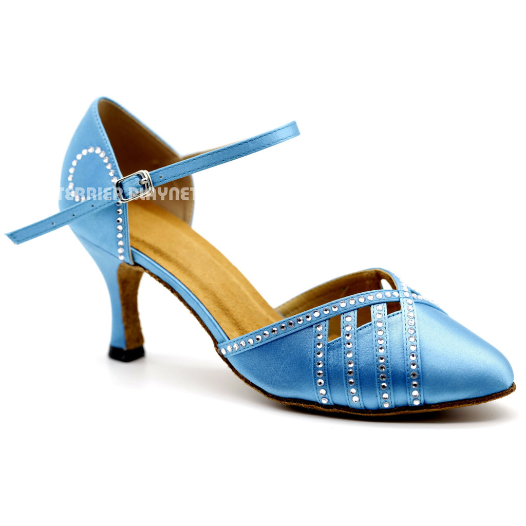 Light Blue Women Rhinestone Dance Shoes Q116 UK5/US7.5/EU38 3 Inches/7.5cm Heel