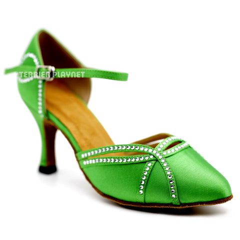 Green Women Rhinestone Dance Shoes Q117 UK5/US7.5/EU38 3 Inches/7.5cm Heel