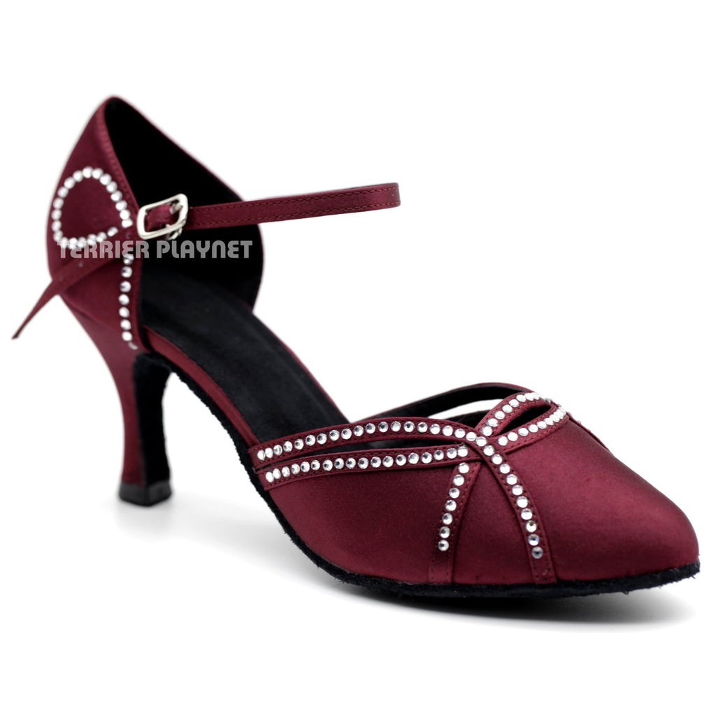 Wine Red Women Rhinestone Dance Shoes Q119 UK5/US7.5/EU38 3 Inches/7.5cm Heel - Terrier Playnet Shop
