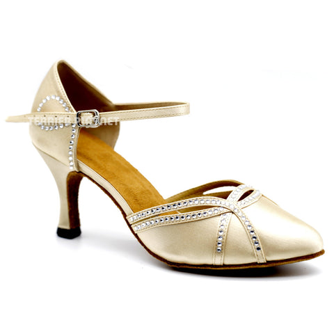 Cream Women Rhinestone Dance Shoes Q120