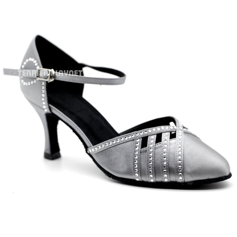Silver Gray Women Rhinestone Dance Shoes Q121 UK2/US4.5/EU34 2.5 Inches/6.25cm Heel