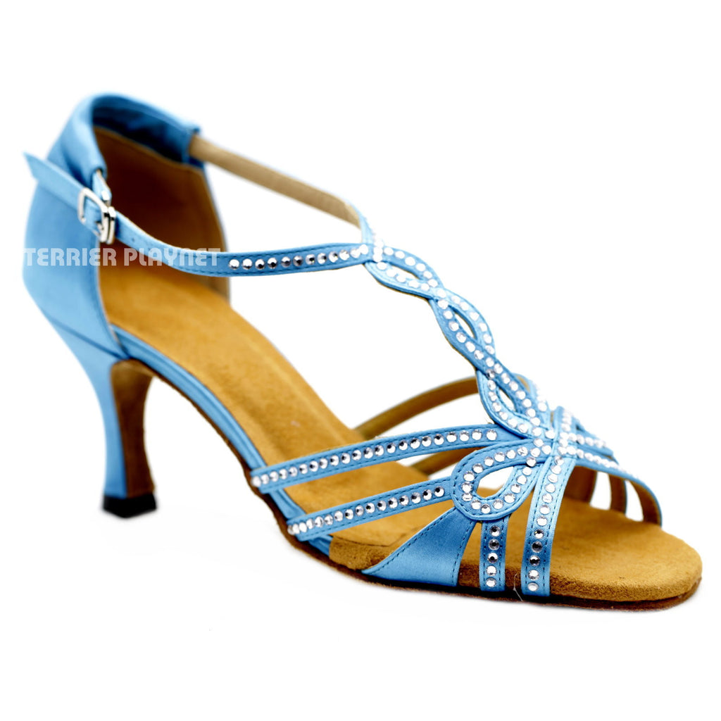 Light Blue Women Rhinestone Dance Shoes Q122