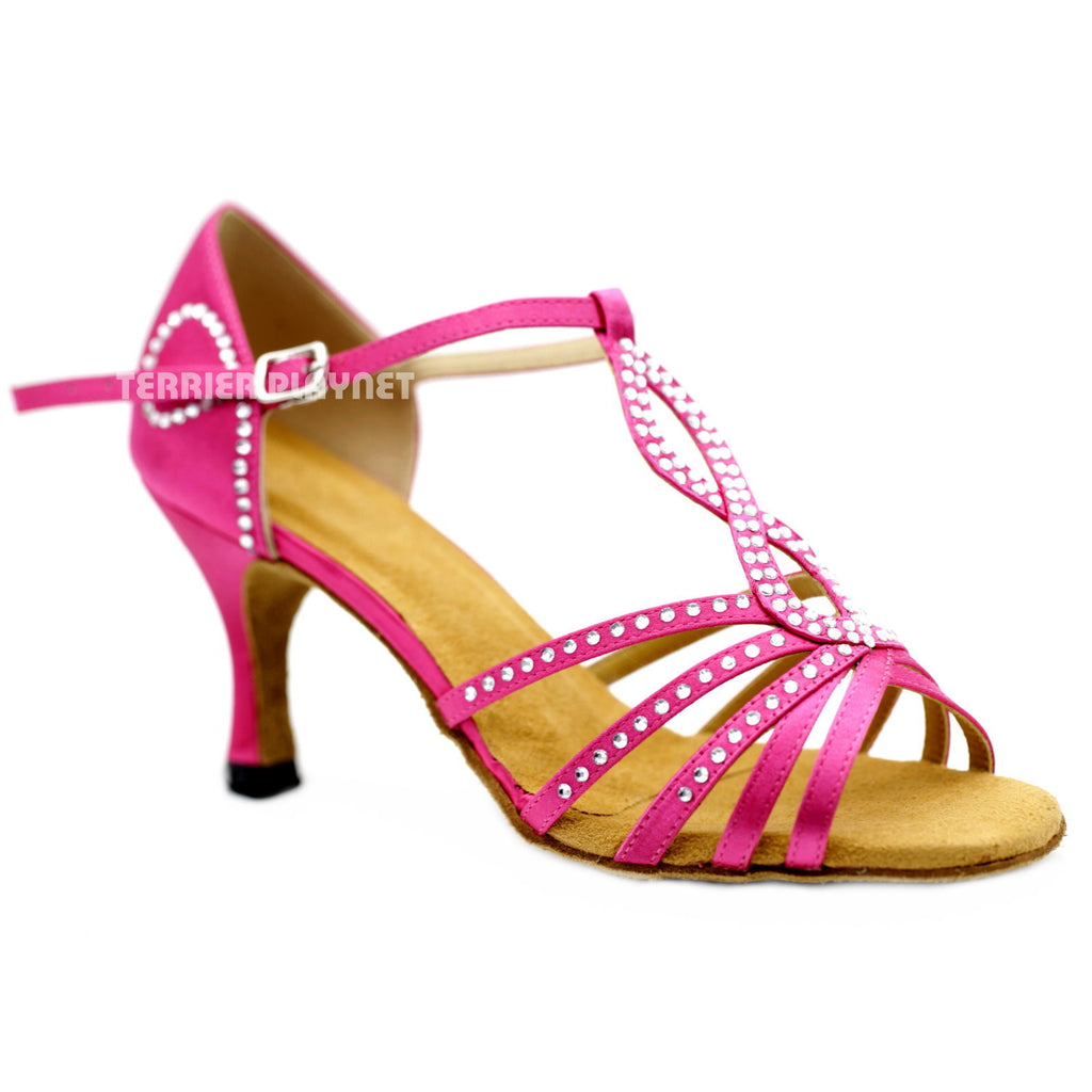 Hot Pink Women Rhinestone Dance Shoes Q123