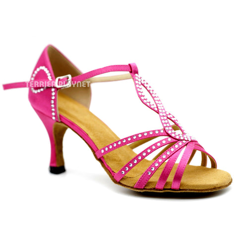 Hot Pink Women Rhinestone Dance Shoes Q123 UK5/US7.5/EU38 3 Inches/7.5cm Heel