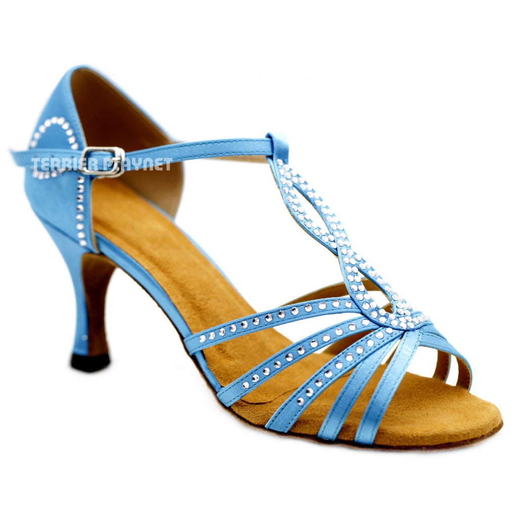 Light Blue Women Rhinestone Dance Shoes Q124 - Terrier Playnet Shop
