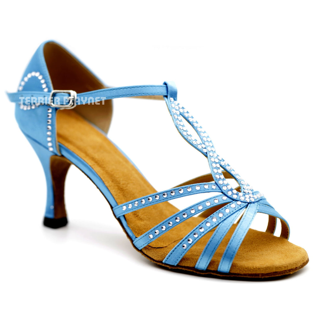 Light Blue Women Rhinestone Dance Shoes Q124 UK5/US7.5/EU38 3 Inches/7.5cm Heel