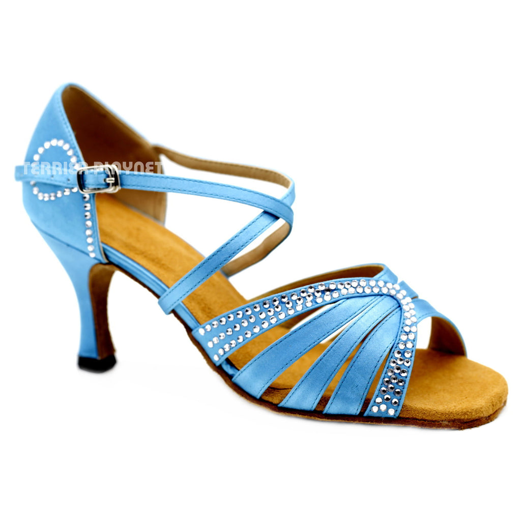 Light Blue Women Rhinestone Dance Shoes Q128