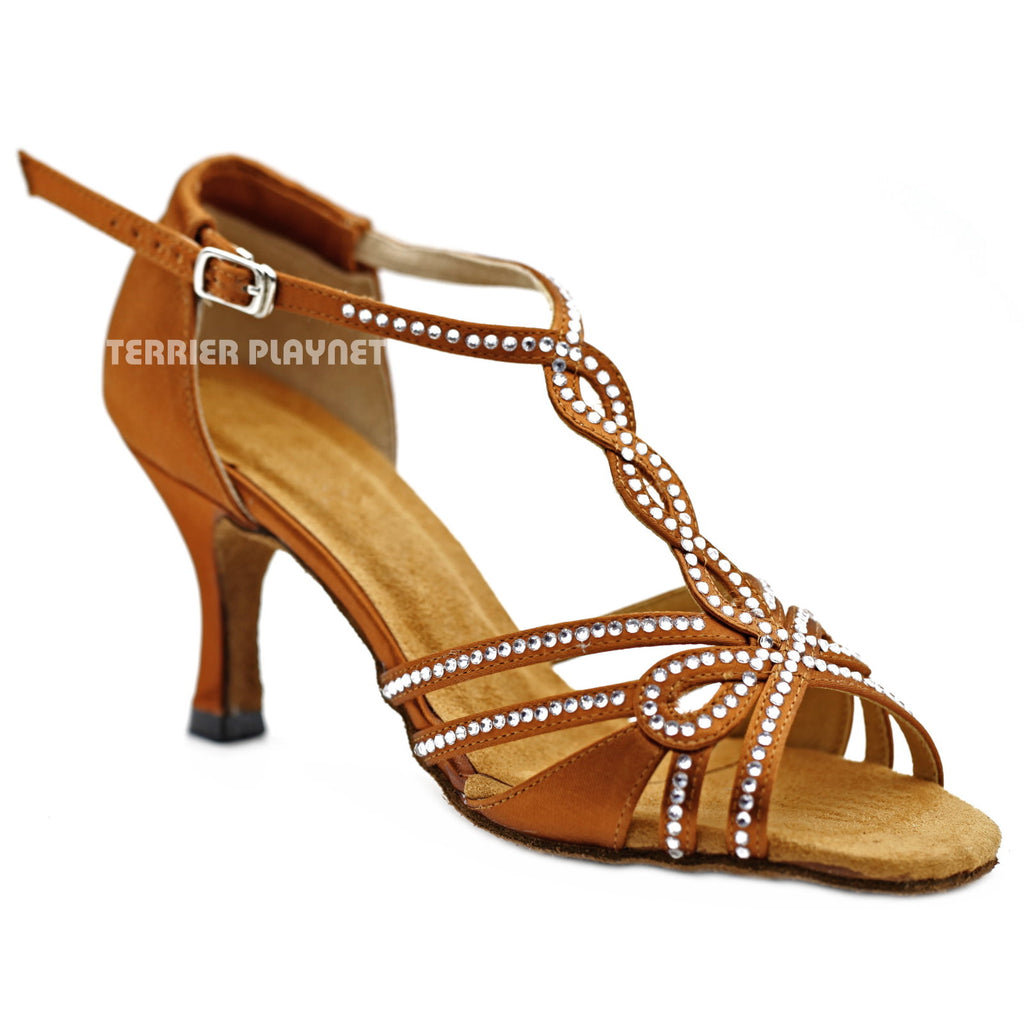 Bronze Women Rhinestone Dance Shoes Q137 UK5.5/US8/EU39 3 Inches/7.5cm Heel - Terrier Playnet Shop