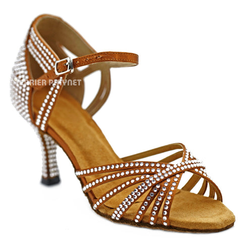 Bronze Women Rhinestone Dance Shoes Q138 UK5/US7.5/EU38 1.5 Inches/3.75cm Heel
