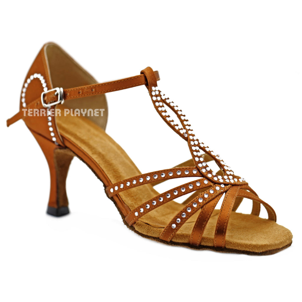 Bronze Women Rhinestone Dance Shoes Q139 UK5.5/US8/EU39 3 Inches/7.5cm Heel - Terrier Playnet Shop