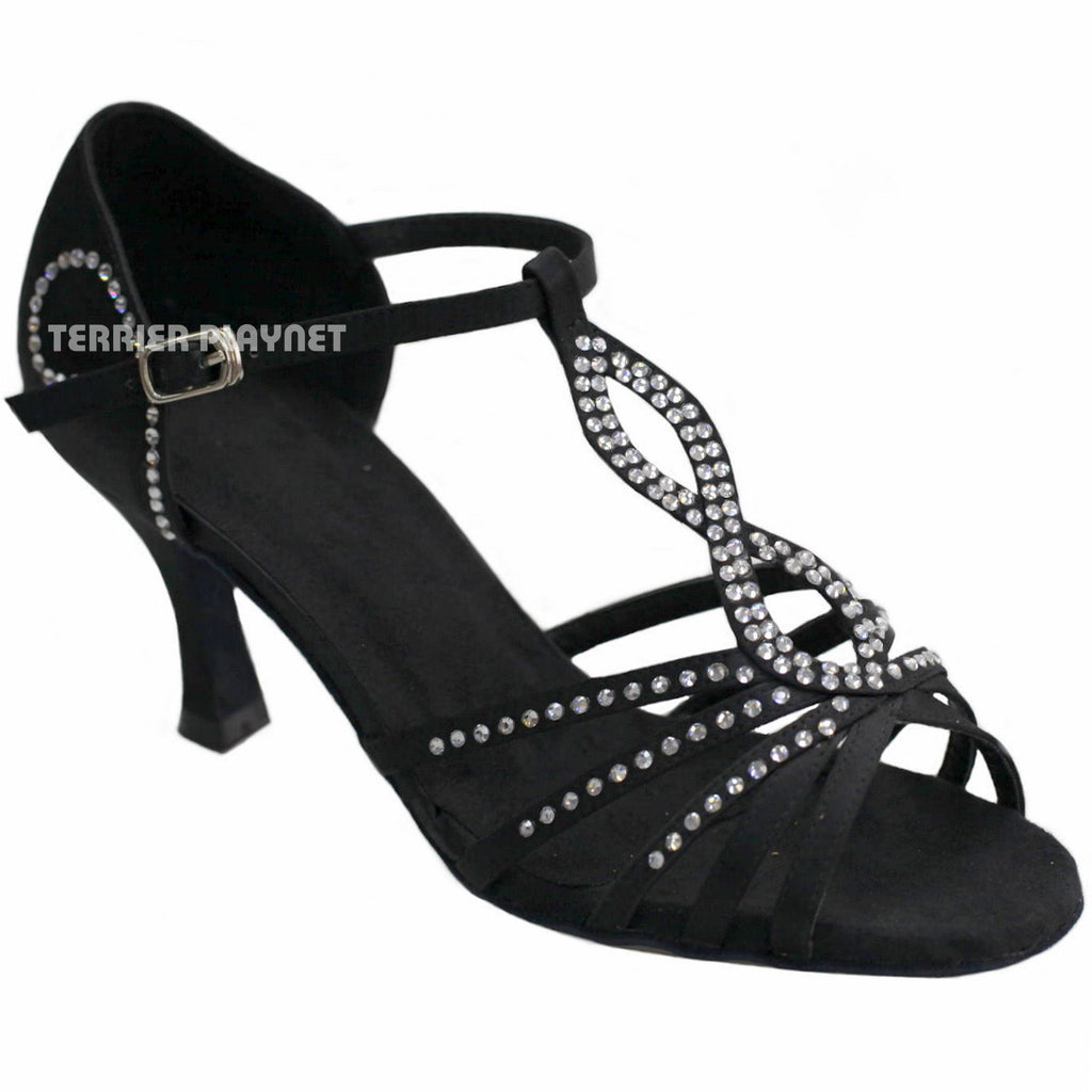 Black Women Rhinestone Dance Shoes Q13 - Terrier Playnet Shop