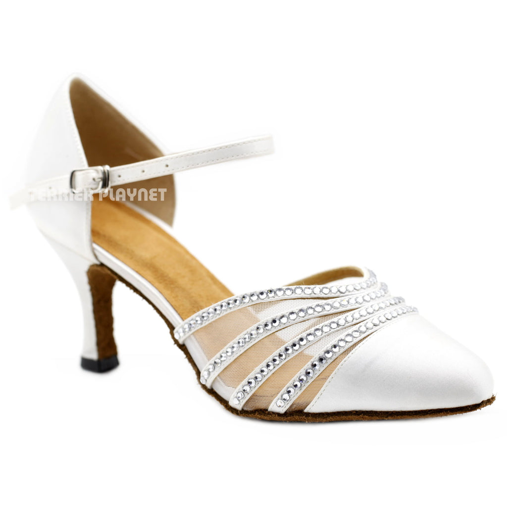 White Women Rhinestone Dance Shoes Q142 UK5/US7.5/EU38 3 Inches/7.5cm Heel - Terrier Playnet Shop
