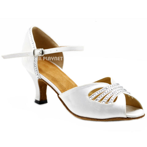 White Women Rhinestone Dance Shoes Q145