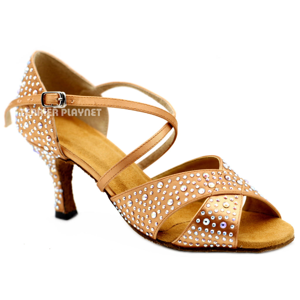 Tan Women Rhinestone Dance Shoes Q148 UK5.5/US8/EU39 3 Inches/7.5cm Heel