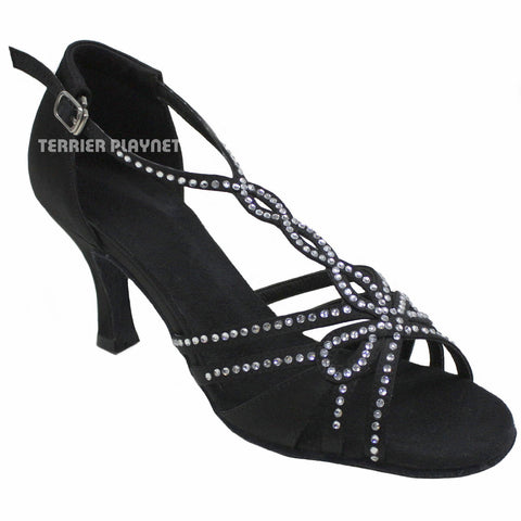 Black Women Rhinestone Dance Shoes Q14