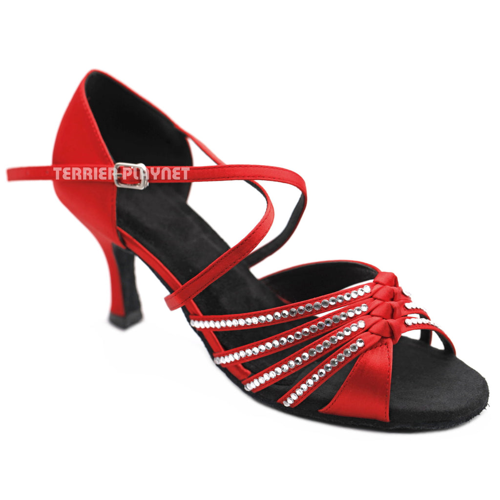 Red Women Rhinestone Dance Shoes Q151 - Terrier Playnet Shop