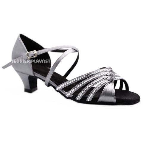 Silver Gray Women Rhinestone Dance Shoes Q152