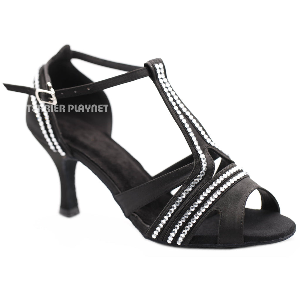 Black Women Rhinestone Dance Shoes Q155 - Terrier Playnet Shop