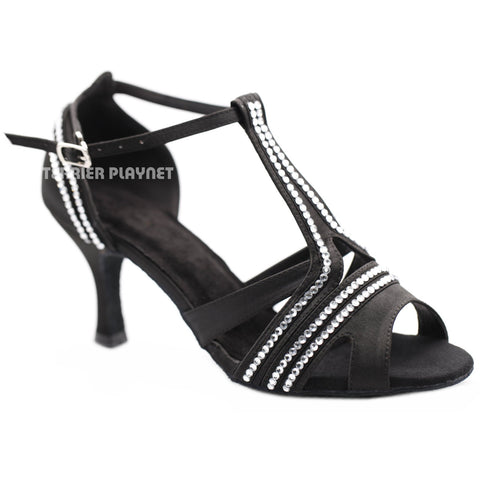 Black Women Rhinestone Dance Shoes Q155