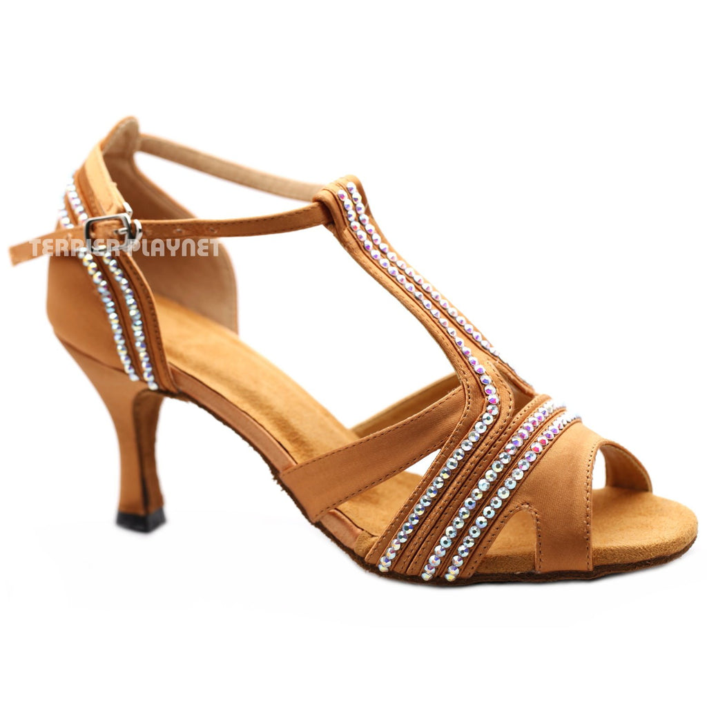 Tan Women Rhinestone Dance Shoes Q156 UK5.5/US8/EU39 3 Inches/7.5cm Heel