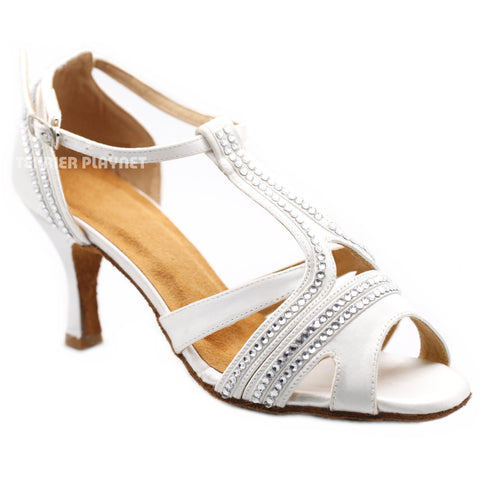 White Women Rhinestone Dance Shoes Q157