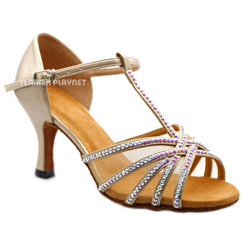 Champagne Gold Women Rhinestone Dance Shoes Q158 UK5.5/US8/EU39 3 Inches/7.5cm Heel