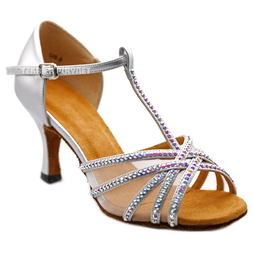Silver Women Rhinestone Dance Shoes Q159 - Terrier Playnet Shop