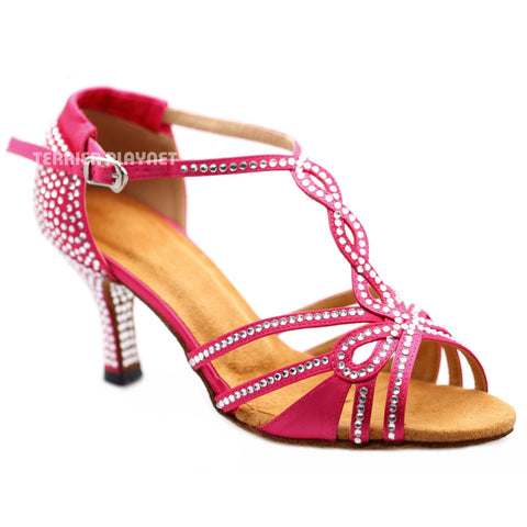 Hot Pink Women Rhinestone Dance Shoes Q163 UK5.5/US8/EU39 3 Inches / 7.5cm Heel